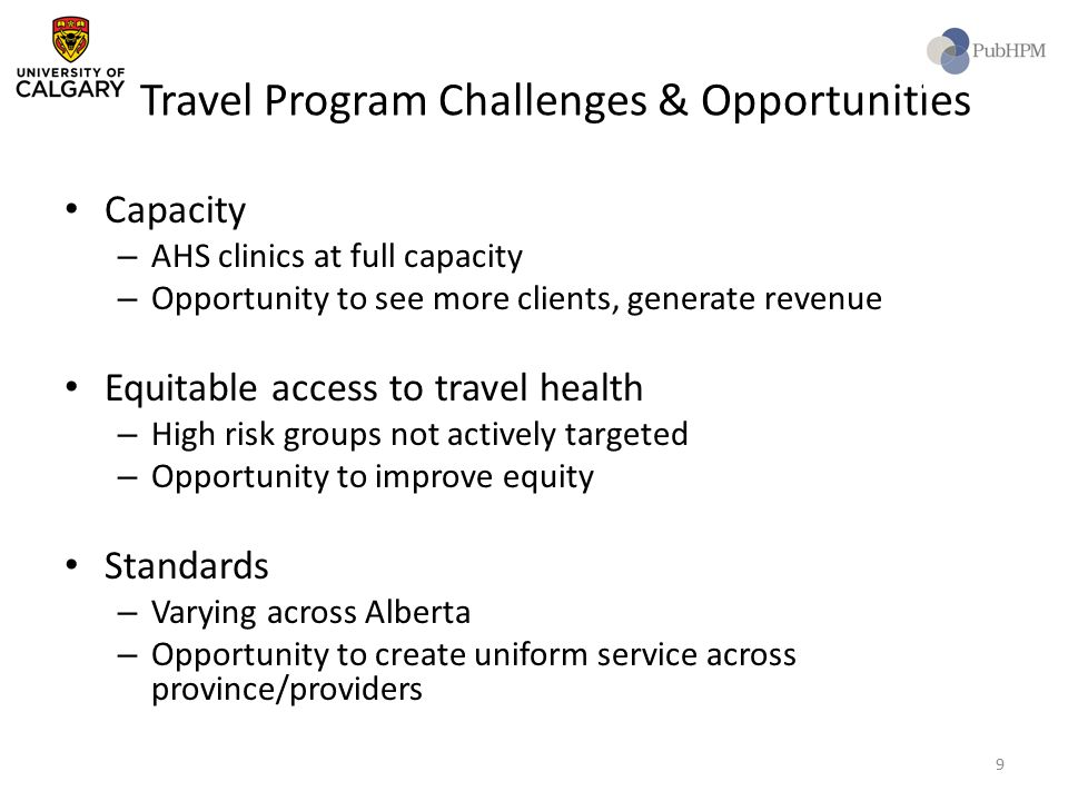 Travel Program Challenges & Opportunities Capacity – AHS clinics at full capacity – Opportunity to see more clients, generate revenue Equitable access