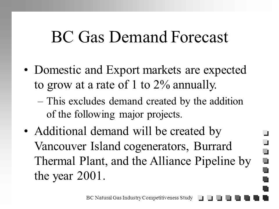 BC Natural Gas Industry Competitiveness Study Forecast of Cumulative Gas Wells Forecast of Gas Intent Wells Required to Meet Demand 0 5000 10000 15000 20000 25000 30000 35000 196019701980199020002010202020302040 Year No of Gas Intent Wells High Demand Base Demand Low Demand NEB (1994 to 2010) Historical Forecast Possible Drilling Location (Excludes PAS) 33,000
