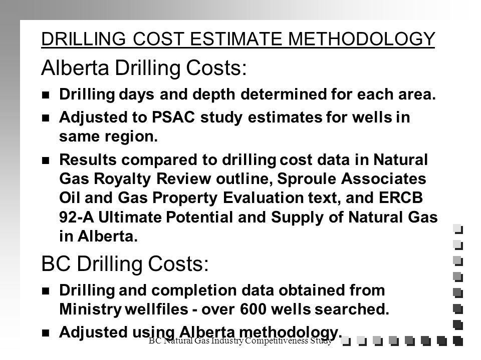 DRILLING COST ESTIMATE METHODOLOGY Alberta Drilling Costs: n Drilling days and depth determined for each area.