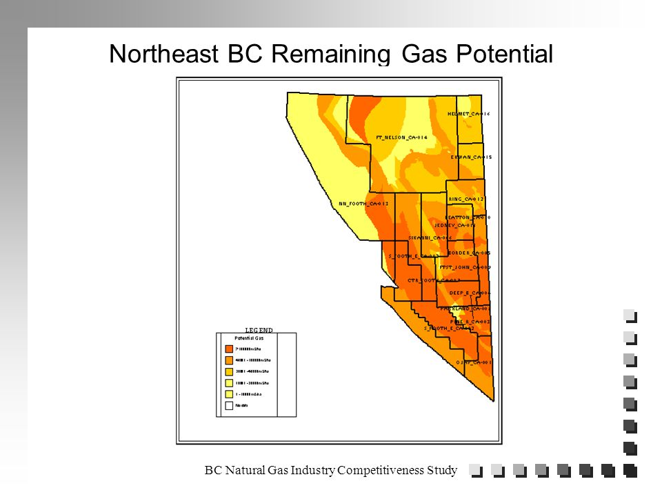 BC Natural Gas Industry Competitiveness Study Northeast BC Established Gas Reserves as of December 31, 1998 in Trillion Cubic Feet of Marketable Gas