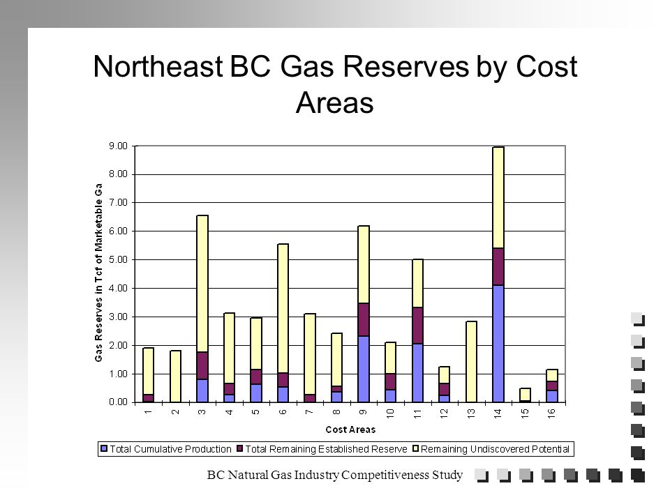 BC Natural Gas Industry Competitiveness Study WCB Issues n Large gap between WCB and Industry perceptions of operating environment (with Energy and Mines caught in between).