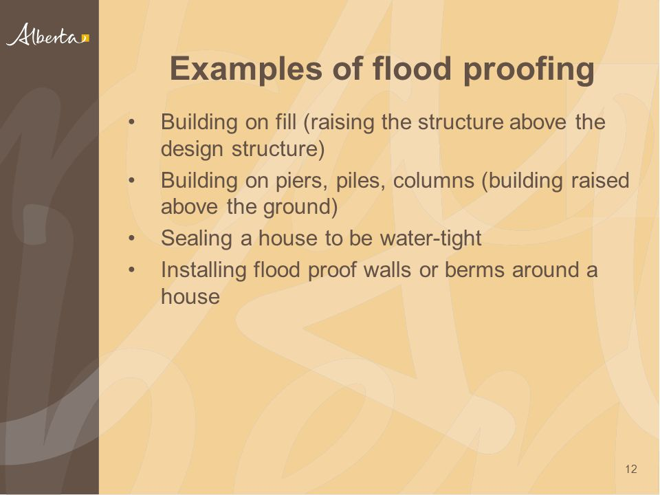 Examples of flood proofing Building on fill (raising the structure above the design structure) Building on piers, piles, columns (building raised abov