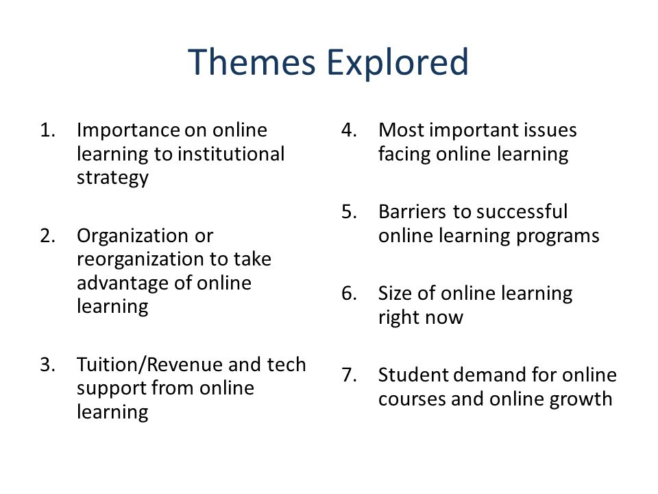 Themes Explored 1.Importance on online learning to institutional strategy 2.Organization or reorganization to take advantage of online learning 3.Tuit