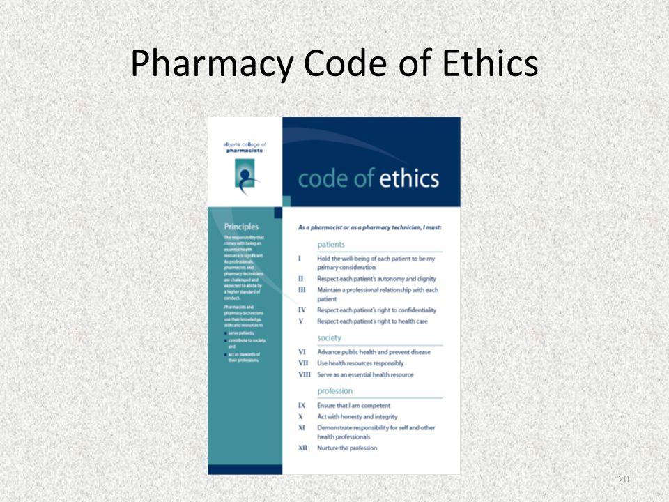 Pharmacy Code of Ethics 20