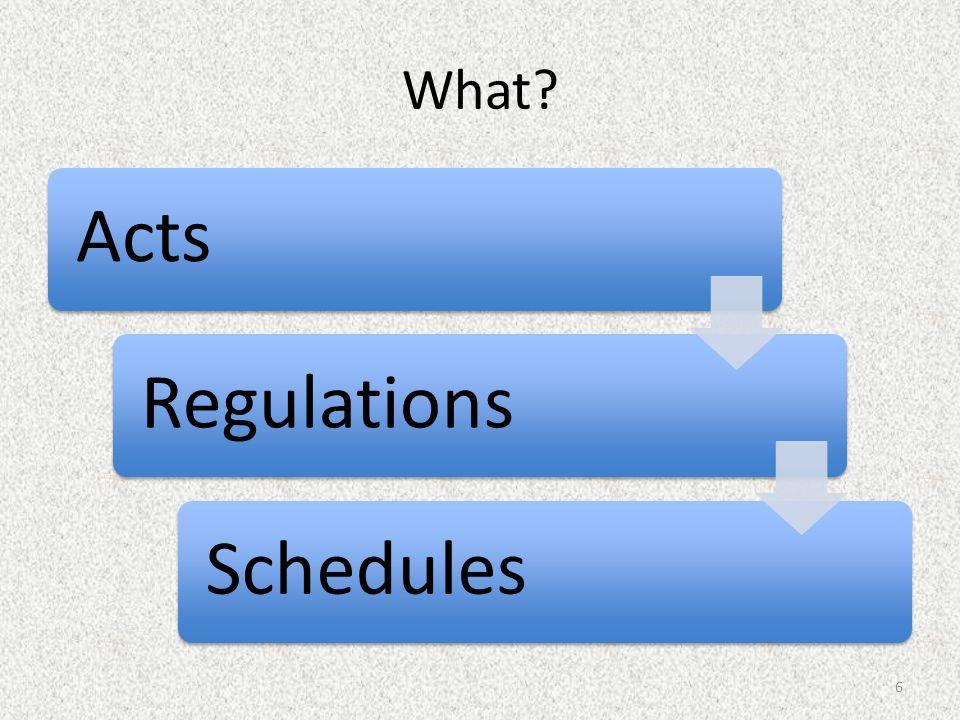What ActsRegulationsSchedules 6