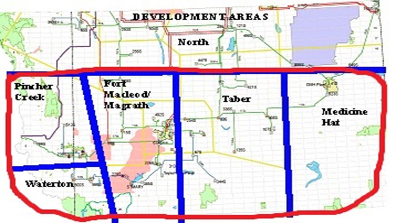 SCENARIO A – 5 EXISTING WPFs Nameplate capacity 254 MW Pincher Creek and Fort Macloed/Magrath SCENARIO B – 5 EXISTING AND 9 PROPOSED WPFs Nameplate capacity 895 MW Pincher Creek, Fort Macloed/Magrath and Taber SCENARIO C – 5 EXISTING AND 17 PROPOSED WPFs Nameplate capacity 1445 MW Pincher Creek, Fort Macloed/Magrath, Taber and Medicine Hat SCENARIO D – 5 EXISTING AND 22 PROPOSED WPFs Nameplate capacity 1994 MW Pincher Creek, Fort Macloed/Magrath, Taber, Medicine Hat and Waterton