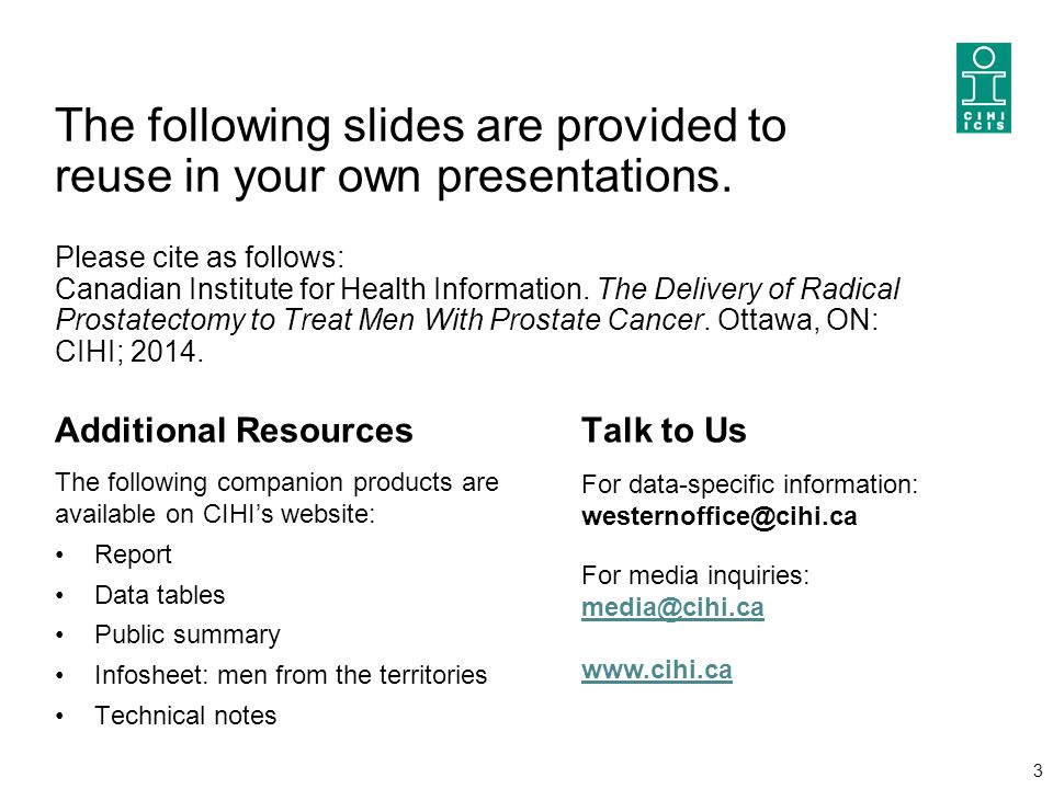 3 The following slides are provided to reuse in your own presentations. Please cite as follows: Canadian Institute for Health Information. The Deliver