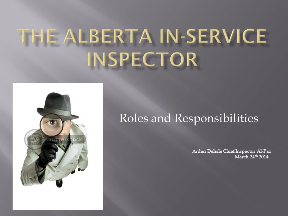 Roles and Responsibilities Arden Delisle Chief Inspector Al-Pac March 24 th 2014