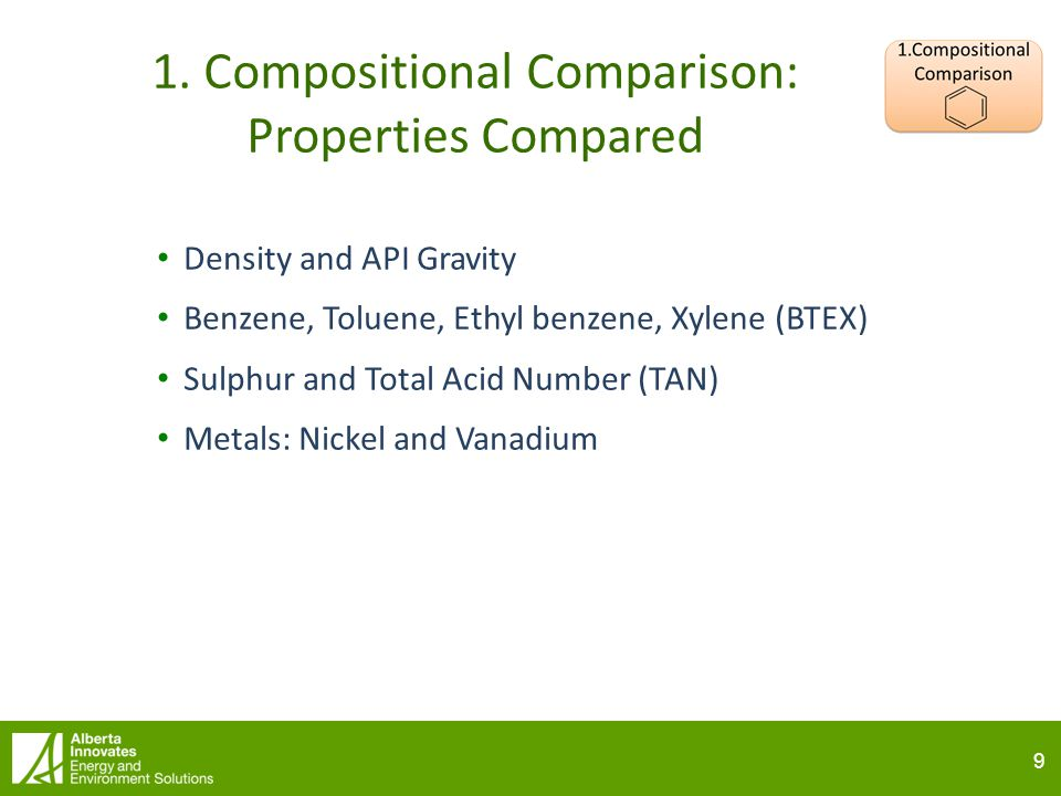 9 9 1. Compositional Comparison: Properties Compared Density and API Gravity Benzene, Toluene, Ethyl benzene, Xylene (BTEX) Sulphur and Total Acid Num
