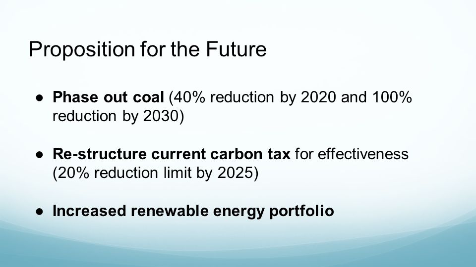 Proposition for the Future ●Phase out coal (40% reduction by 2020 and 100% reduction by 2030) ●Re-structure current carbon tax for effectiveness (20% reduction limit by 2025) ●Increased renewable energy portfolio