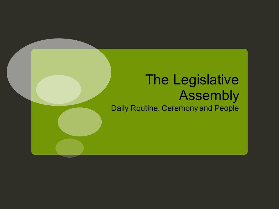 The Legislative Assembly Daily Routine, Ceremony and People