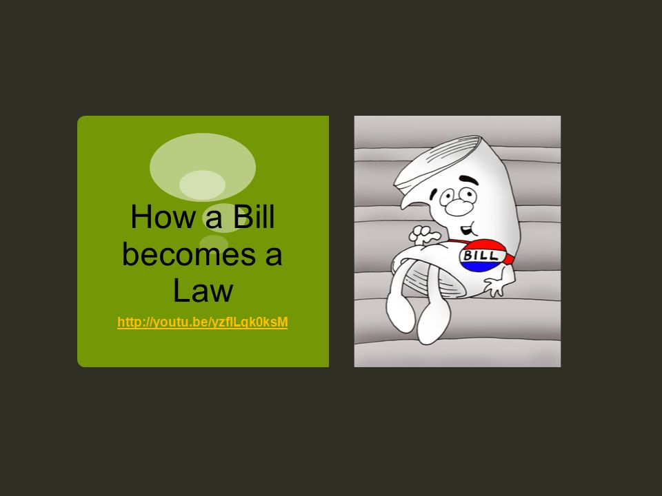 How a Bill becomes a Law http://youtu.be/yzflLqk0ksM