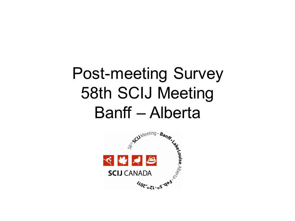 Post-meeting Survey 58th SCIJ Meeting Banff – Alberta