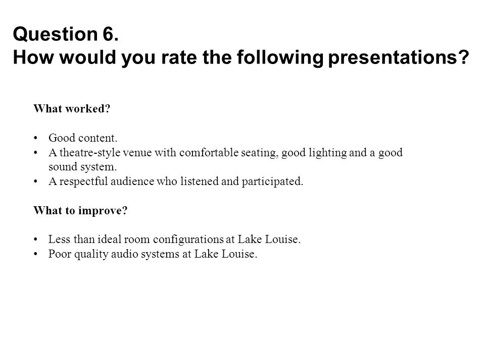 Question 6. How would you rate the following presentations.