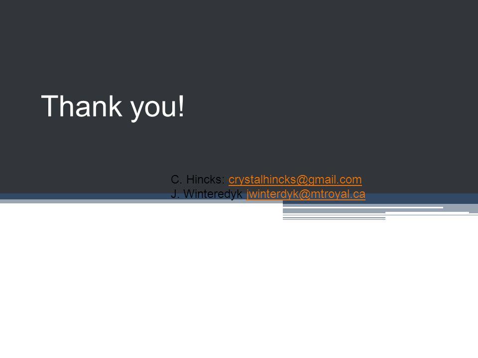 Thank you. C. Hincks: crystalhincks@gmail.comcrystalhincks@gmail.com J.
