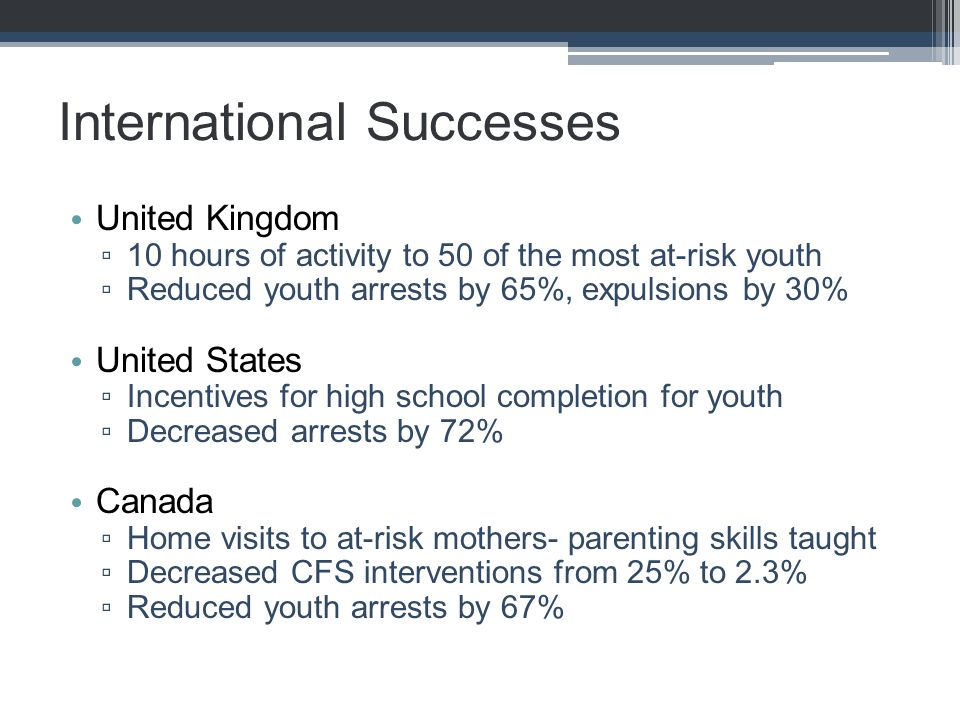 International Successes United Kingdom ▫ 10 hours of activity to 50 of the most at-risk youth ▫ Reduced youth arrests by 65%, expulsions by 30% United