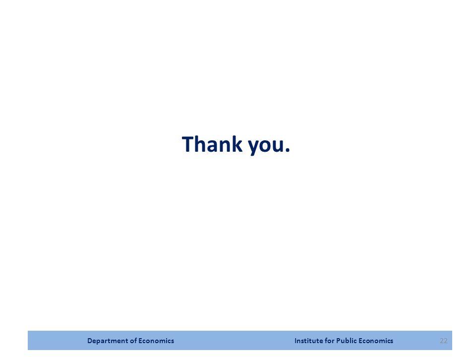 Department of Economics Institute for Public Economics22 Thank you.