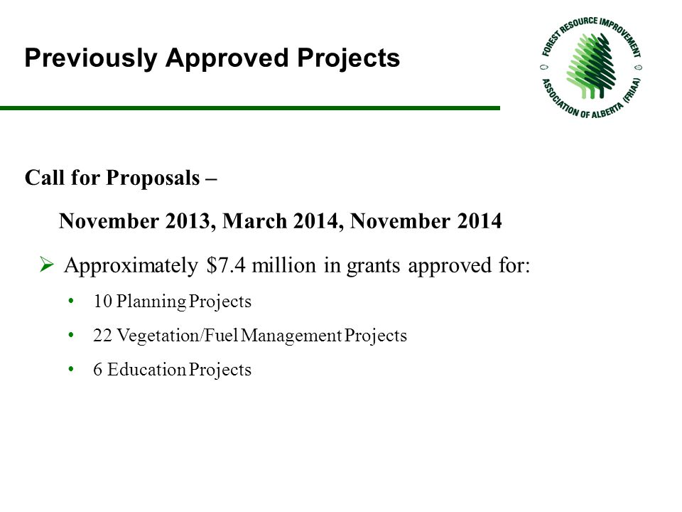 Previously Approved Projects Call for Proposals – November 2013, March 2014, November 2014  Approximately $7.4 million in grants approved for: 10 Planning Projects 22 Vegetation/Fuel Management Projects 6 Education Projects