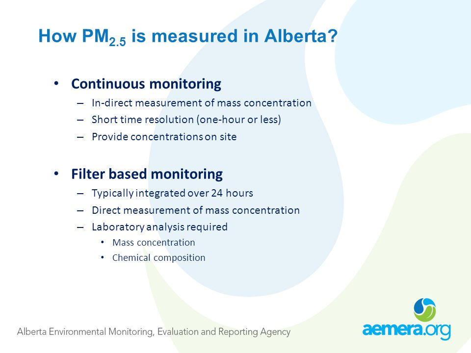 How PM 2.5 is measured in Alberta.