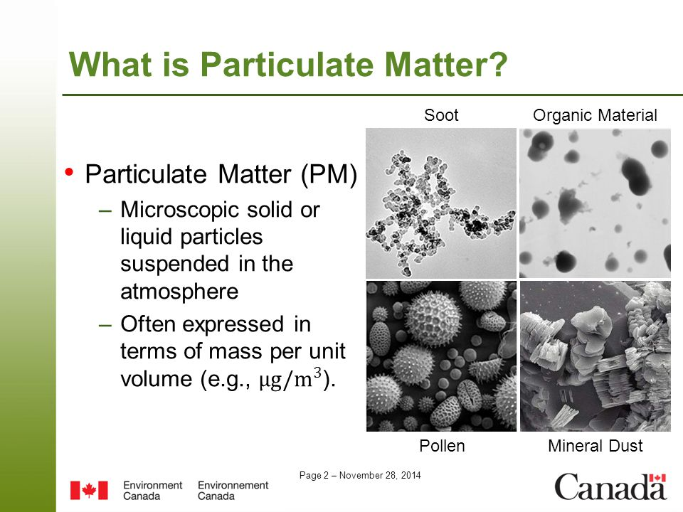 Page 2 – November 28, 2014 What is Particulate Matter? SootOrganic Material PollenMineral Dust