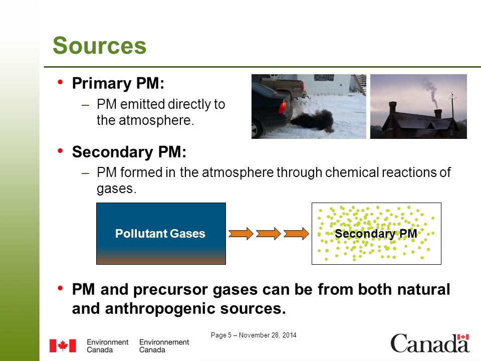 Page 5 – November 28, 2014 Sources Primary PM: –PM emitted directly to the atmosphere.