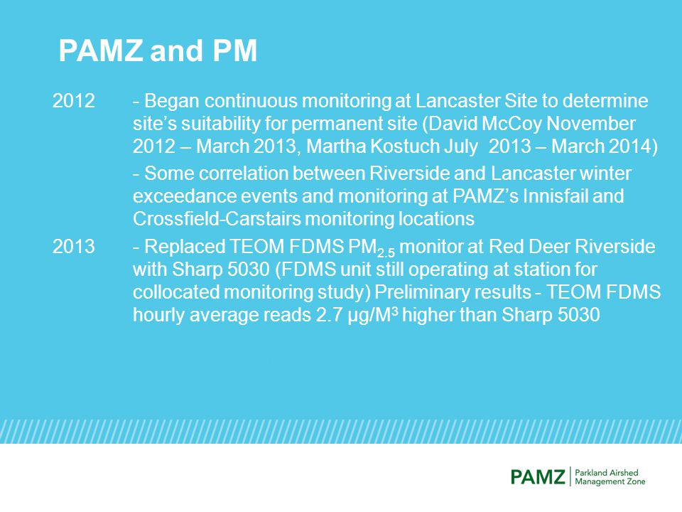 PAMZ and PM 2012- Began continuous monitoring at Lancaster Site to determine site's suitability for permanent site (David McCoy November 2012 – March 2013, Martha Kostuch July 2013 – March 2014) - Some correlation between Riverside and Lancaster winter exceedance events and monitoring at PAMZ's Innisfail and Crossfield-Carstairs monitoring locations 2013- Replaced TEOM FDMS PM 2.5 monitor at Red Deer Riverside with Sharp 5030 (FDMS unit still operating at station for collocated monitoring study) Preliminary results - TEOM FDMS hourly average reads 2.7 µg/M 3 higher than Sharp 5030
