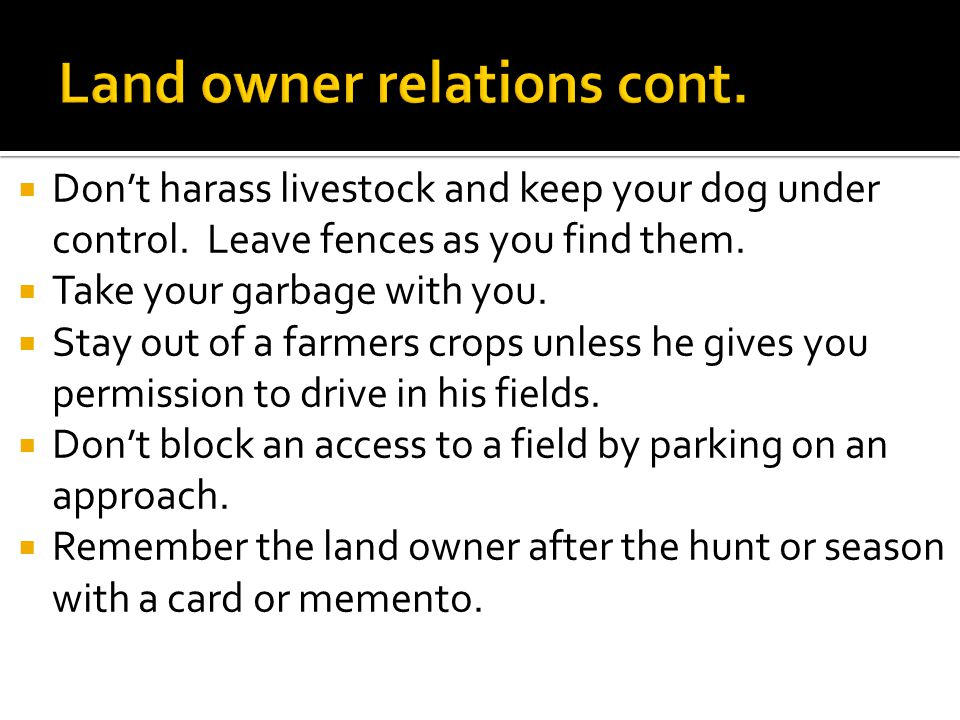  Don't harass livestock and keep your dog under control.