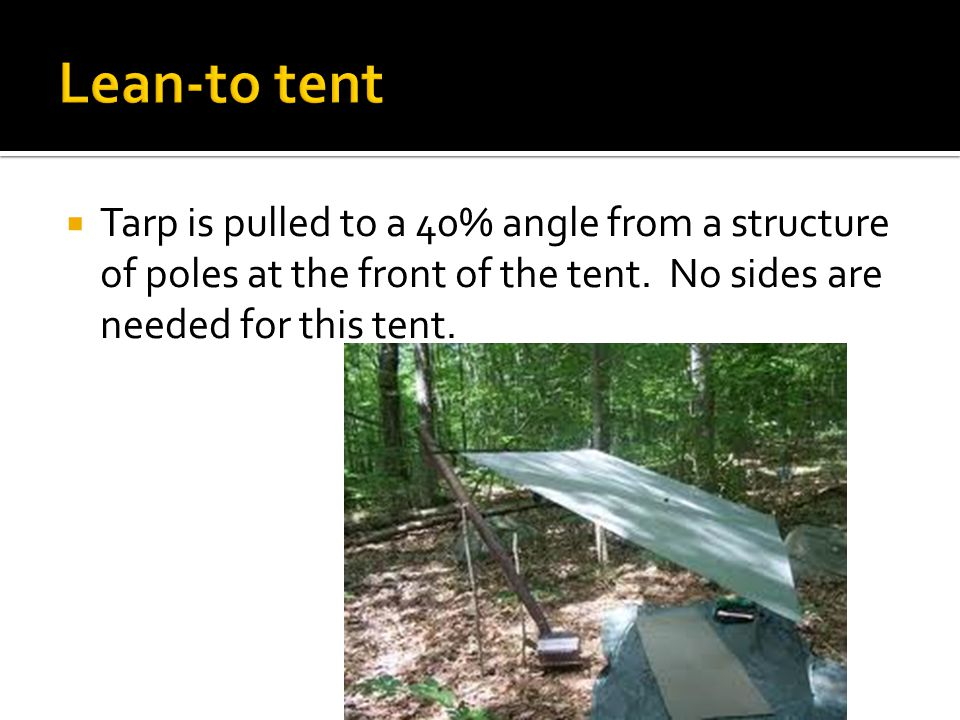  Tarp is pulled to a 40% angle from a structure of poles at the front of the tent.