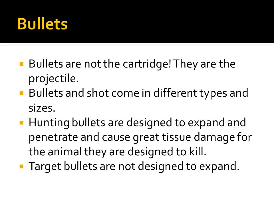  Bullets are not the cartridge. They are the projectile.