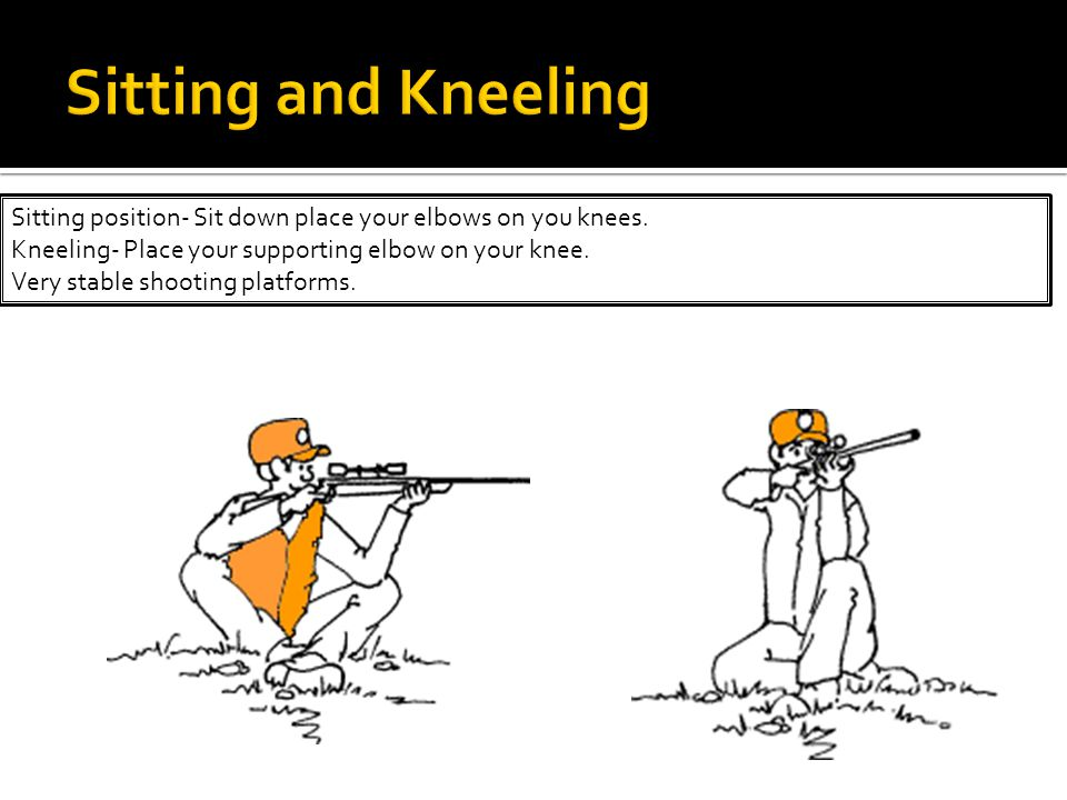 Sitting position- Sit down place your elbows on you knees.