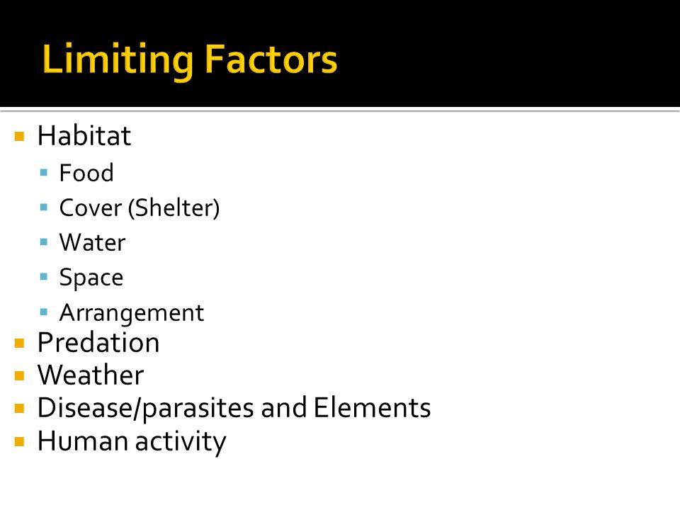  Habitat  Food  Cover (Shelter)  Water  Space  Arrangement  Predation  Weather  Disease/parasites and Elements  Human activity