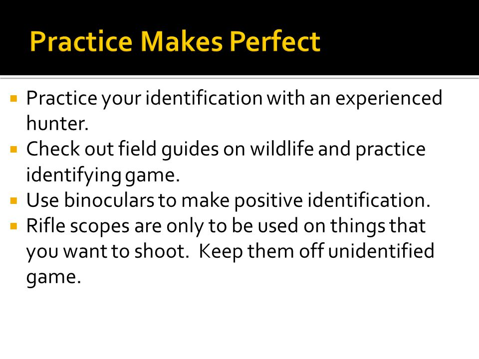  Practice your identification with an experienced hunter.