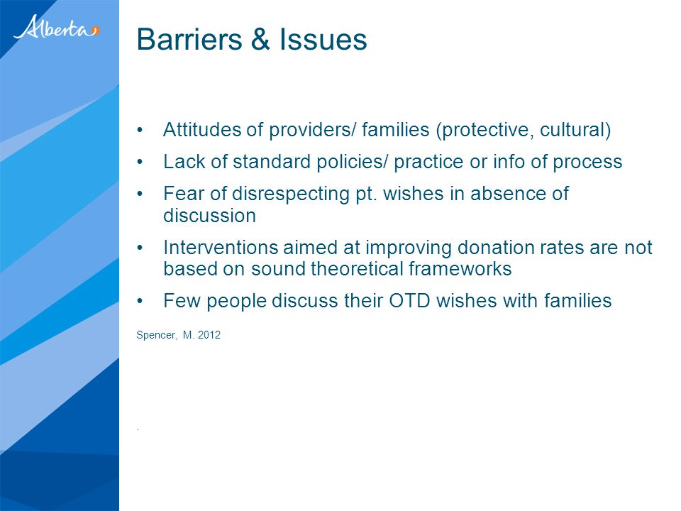 Barriers & Issues Attitudes of providers/ families (protective, cultural) Lack of standard policies/ practice or info of process Fear of disrespecting pt.
