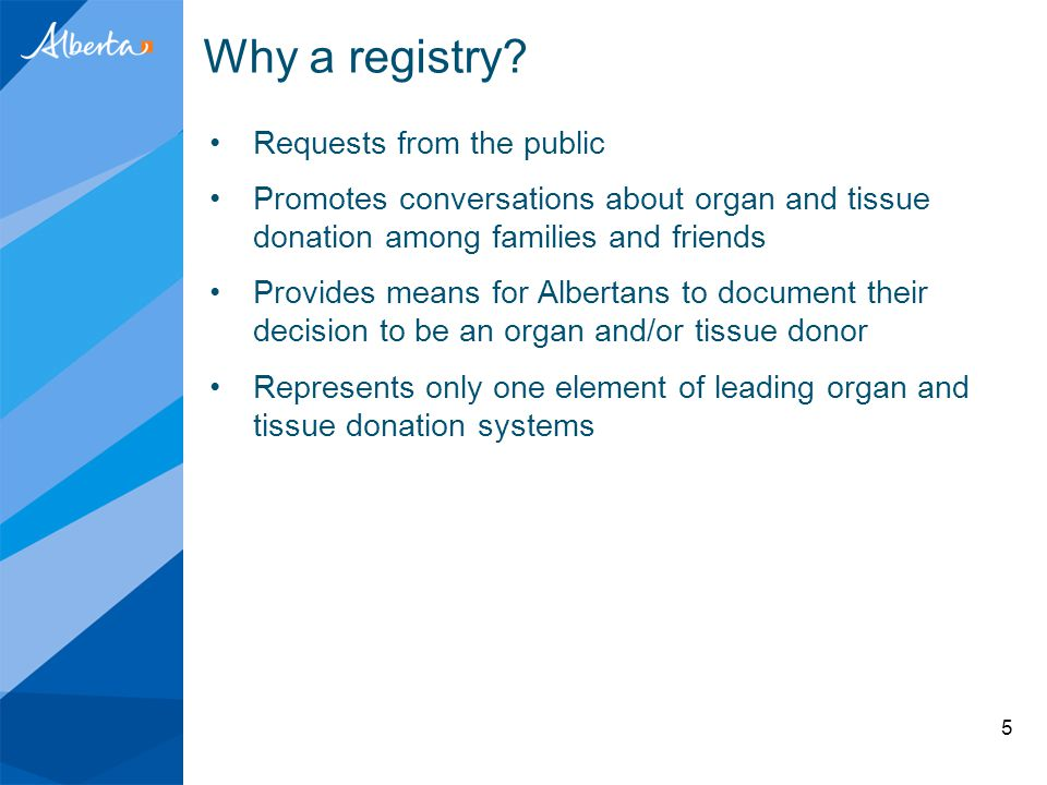 Why a registry? Requests from the public Promotes conversations about organ and tissue donation among families and friends Provides means for Albertan