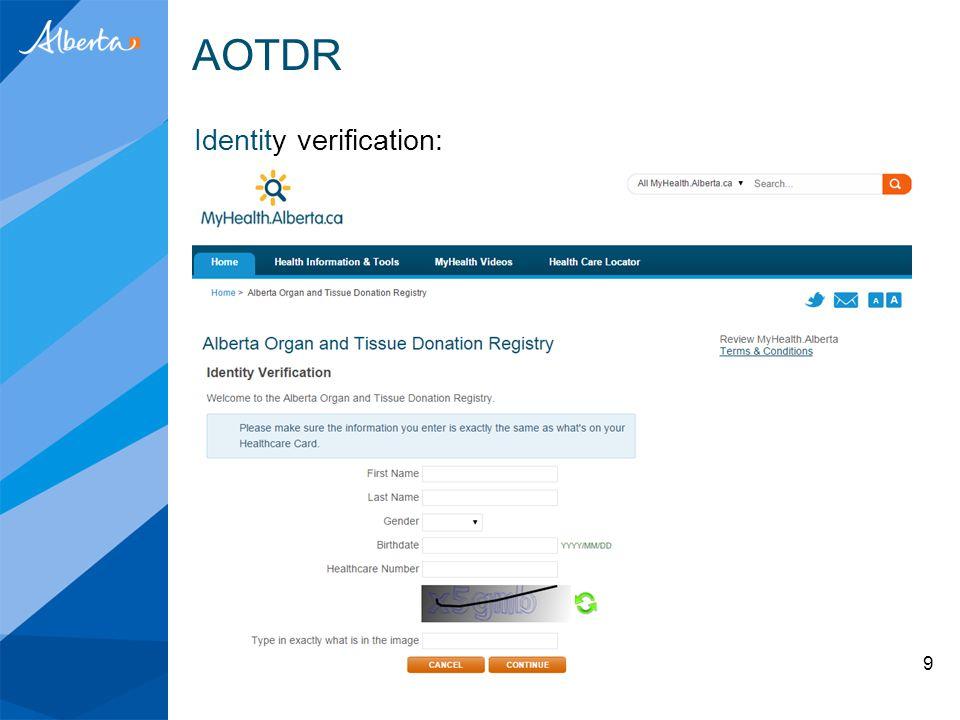 AOTDR Identity verification: 9