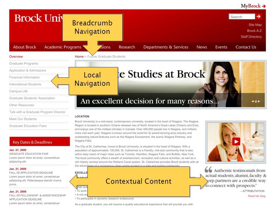 Local Navigation Contextual Content Breadcrumb Navigation