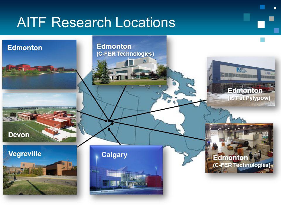AITF Research Locations Edmonton Edmonton (C-FER Technologies) Devon Vegreville Edmonton (IST at Pylypow) Edmonton (C-FER Technologies)