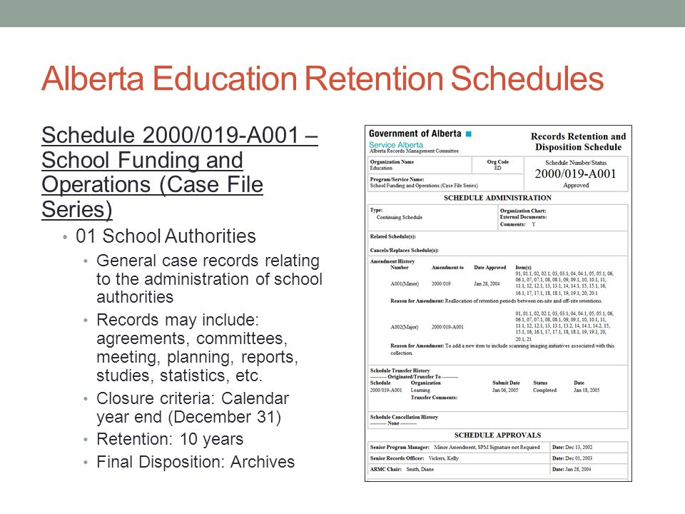 Alberta Education Retention Schedules Schedule 2000/019-A001 – School Funding and Operations (Case File Series) 01 School Authorities General case records relating to the administration of school authorities Records may include: agreements, committees, meeting, planning, reports, studies, statistics, etc.
