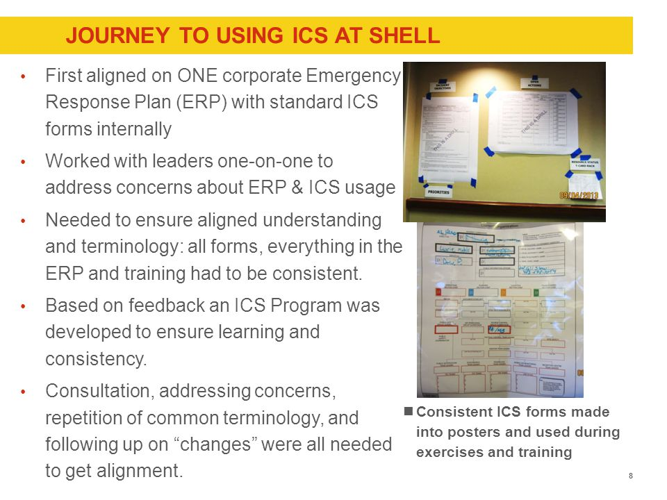 JOURNEY TO USING ICS AT SHELL First aligned on ONE corporate Emergency Response Plan (ERP) with standard ICS forms internally Worked with leaders one-on-one to address concerns about ERP & ICS usage Needed to ensure aligned understanding and terminology: all forms, everything in the ERP and training had to be consistent.