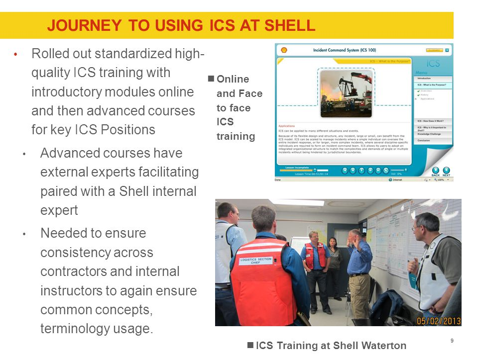 JOURNEY TO USING ICS AT SHELL Rolled out standardized high- quality ICS training with introductory modules online and then advanced courses for key ICS Positions Advanced courses have external experts facilitating paired with a Shell internal expert Needed to ensure consistency across contractors and internal instructors to again ensure common concepts, terminology usage.