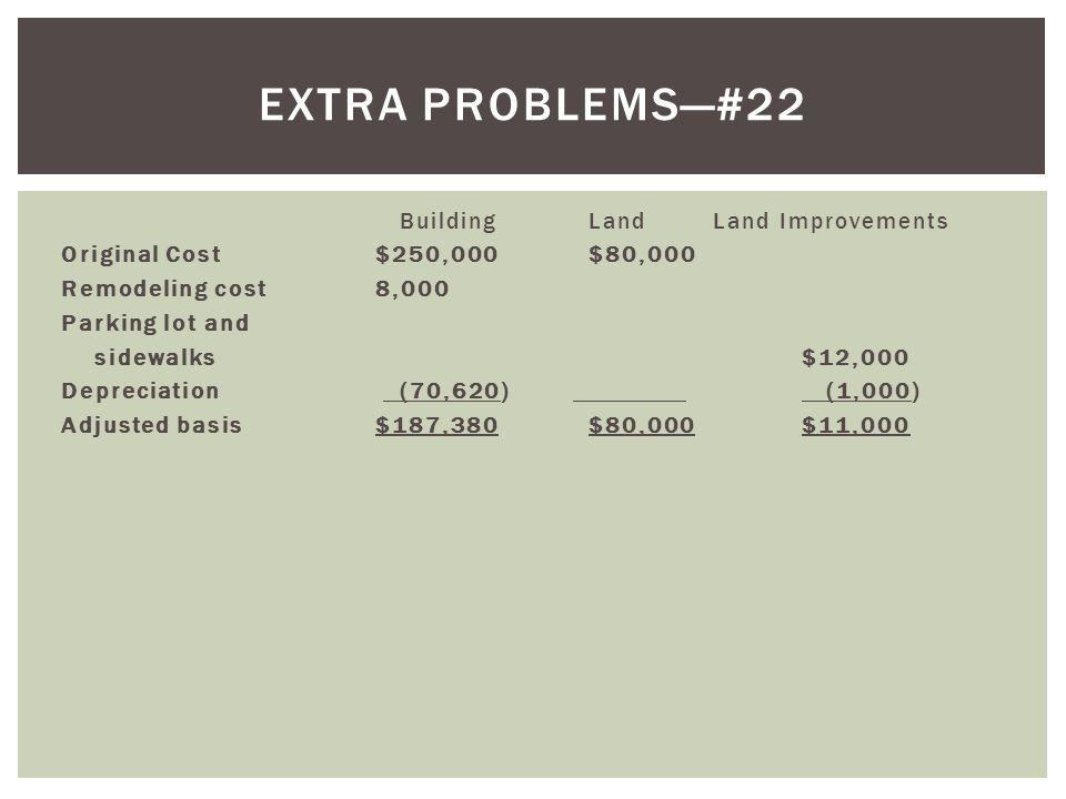 Building Land Land Improvements Original Cost$250,000$80,000 Remodeling cost 8,000 Parking lot and sidewalks$12,000 Depreciation (70,620) (1,000) Adju
