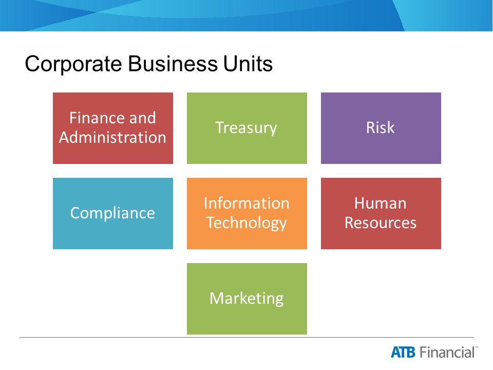 Corporate Business Units Finance and Administration TreasuryRisk Compliance Information Technology Human Resources Marketing