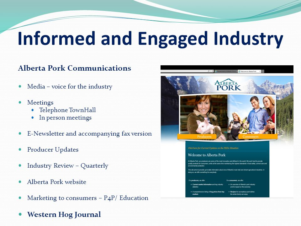 Informed and Engaged Industry Alberta Pork Communications Media – voice for the industry Meetings Telephone TownHall In person meetings E-Newsletter and accompanying fax version Producer Updates Industry Review – Quarterly Alberta Pork website Marketing to consumers – P4P/ Education Western Hog Journal
