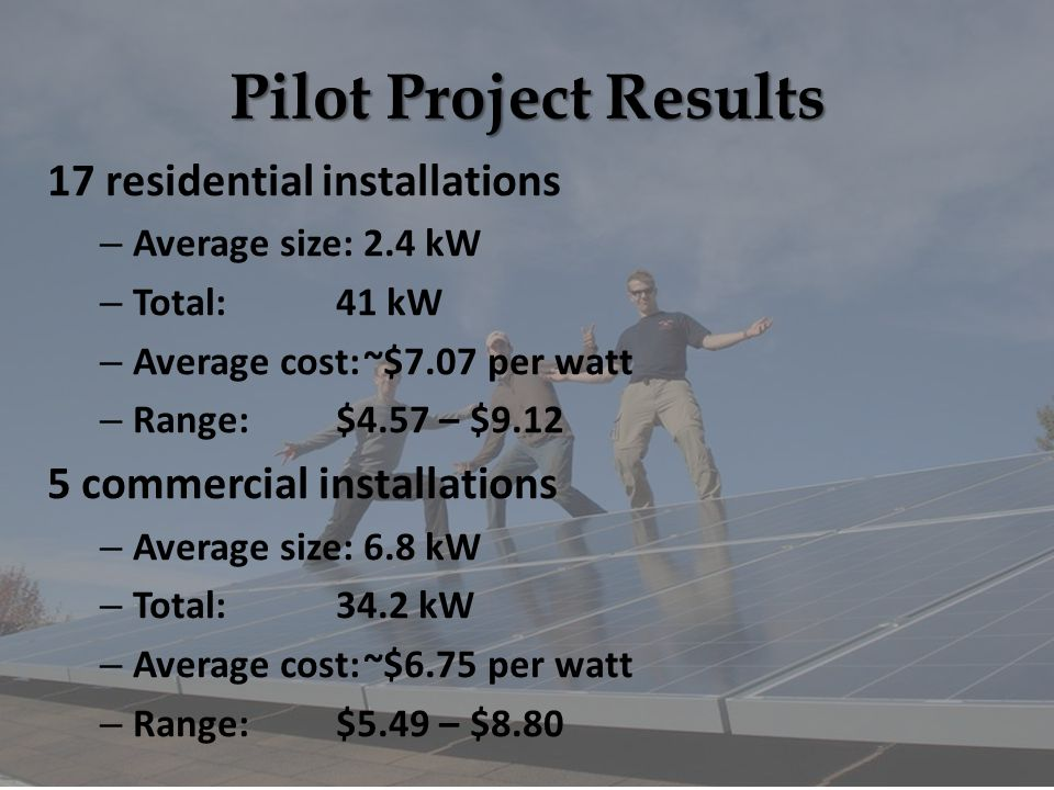 Pilot Project Results 17 residential installations – Average size:2.4 kW – Total:41 kW – Average cost:~$7.07 per watt – Range:$4.57 – $9.12 5 commercial installations – Average size:6.8 kW – Total:34.2 kW – Average cost:~$6.75 per watt – Range:$5.49 – $8.80