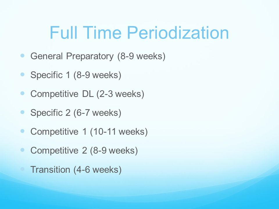 Full Time Periodization General Preparatory (8-9 weeks) Specific 1 (8-9 weeks) Competitive DL (2-3 weeks) Specific 2 (6-7 weeks) Competitive 1 (10-11