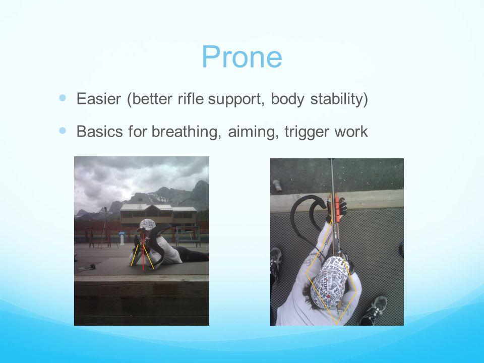 Prone Easier (better rifle support, body stability) Basics for breathing, aiming, trigger work