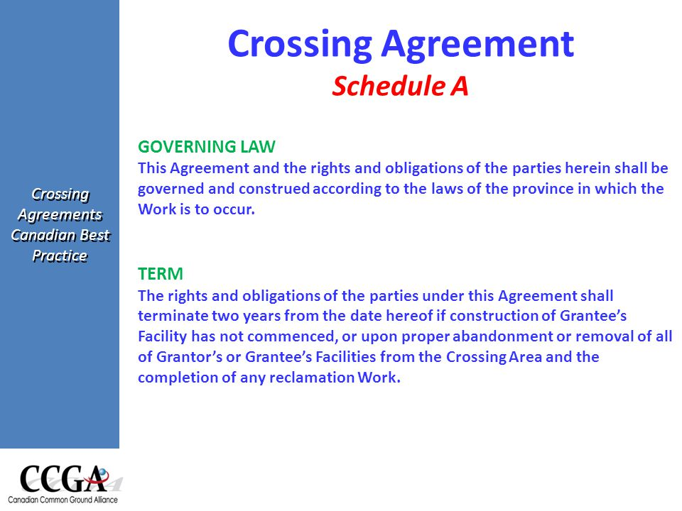 Crossing Agreements Canadian Best Practice GOVERNING LAW This Agreement and the rights and obligations of the parties herein shall be governed and construed according to the laws of the province in which the Work is to occur.