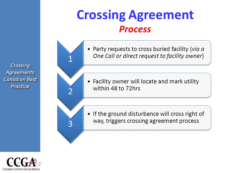 Crossing Agreements Canadian Best Practice Crossing Agreement Process 1 Party requests to cross buried facility (via a One Call or direct request to facility owner) 2 Facility owner will locate and mark utility within 48 to 72hrs 3 If the ground disturbance will cross right of way, triggers crossing agreement process