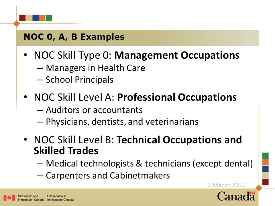 NOC Skill Type 0: Management Occupations – Managers in Health Care – School Principals NOC Skill Level A: Professional Occupations – Auditors or accountants – Physicians, dentists, and veterinarians NOC Skill Level B: Technical Occupations and Skilled Trades – Medical technologists & technicians (except dental) – Carpenters and Cabinetmakers NOC 0, A, B Examples 2 March 2012