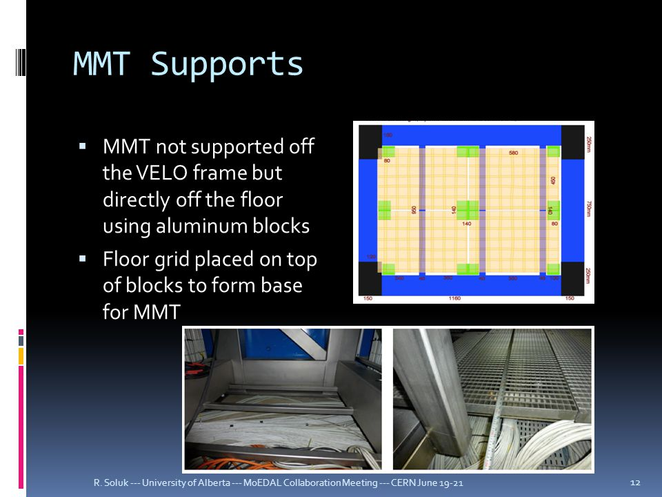 MMT Supports  MMT not supported off the VELO frame but directly off the floor using aluminum blocks  Floor grid placed on top of blocks to form base for MMT R.